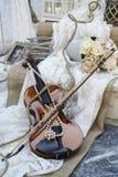 Vintage violin on wedding decor Royalty Free Stock Image