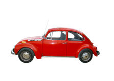 Vintage volkswagen. A red vintage volkswagen beetle on a white background stock photos