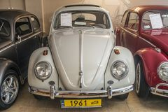 Vintage Volkswagen Beetle car restored. Vintage VW Beetle car produced in 1961 in Volkswagen museum in Pepowo near Gdansk in Pomeranian region in northern Poland royalty free stock images