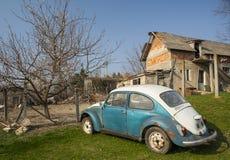 Vintage volkswagen beetle car rusting in the backyard in a villa Royalty Free Stock Image
