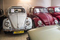 Vintage Volkswagen Beetle cars. Vintage VW Beetle cars in Volkswagen museum in Pepowo near Gdansk in northern Poland. Yellow number plates for a historic vehicle stock image