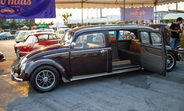 Vintage Volkswagen beetle limousine. Bangkok, Thailand - February 9, 2019: Vintage Volkswagen beetle limousine show in volkswagen club meeting in Siam VW royalty free stock photography