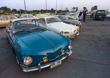 Vintage Volkswagen Karmann Ghia Type 14 and 34 show in VW club meeting. Bangkok, Thailand - February 9, 2019: Vintage Volkswagen Karmann Ghia Type 14 and 34 show royalty free stock images