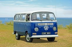 Vintage volkswagen meet rally. Photo of a blue vintage volkswagen attending a meet rally on tankerton slopes during april 2018 stock photos