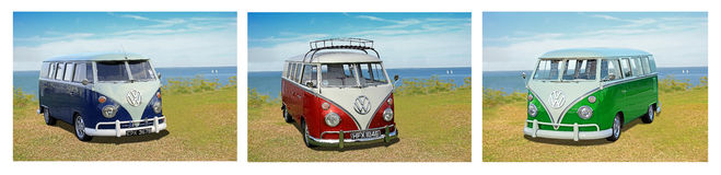 Vintage volkswagen trio. Photo of a vintage trio of volkswagen vans on display at whitstable car show during summer of 2016 stock photo