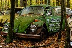 Vintage Antique Car - Junkyard in Autumn - Abandoned Volkswagen Type 1 / Beetle - Pennsylvania stock image
