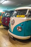 Vintage Volkswagen camper van 1960. Vintage VW van of 1960 in Volkswagen museum in Pepowo near Gdansk in Pomerania region in northern Poland. Yellow number royalty free stock image