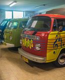 Vintage Volkswagen T1 Transporter van. Vintage VW van in Volkswagen museum in Pepowo near Gdansk in northern Poland. Yellow number plates for a historic vehicle stock images