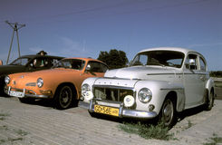 Classic cars Volvo P544 and Volkswagen Ghia Stock Photos