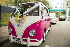 The vintage Volkswagen wedding car Stock Photography