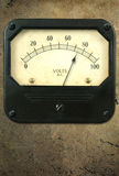 Vintage Voltmeter on Metal Background Stock Photos