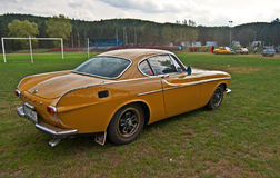 Vintage Volvo P1800 E during old cars race. Beautiful retro Swedish car Volvo 1800 during oldtimers race in Wejherowo, Poland Royalty Free Stock Images