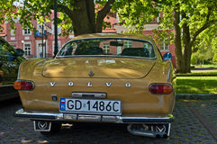Vintage Volvo P1800 E automobile. Classic Swedish beautiful Volvo P1800 E from the sixties during old cars race in Wejherowo, Northern Poland. Old local museum stock image