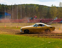 Classic Swedich car Volvo P1800. Speed test of an vintage beautiful Volvo P1800 during speed test at old cars race in Northern Poland stock photo