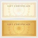 Vintage voucher (coupon) template with border. Voucher template with guilloche pattern (watermarks) and border. This background design usable for gift Royalty Free Stock Photography