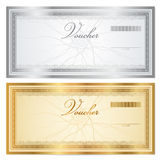 Vintage voucher (coupon) template with border. Voucher template with guilloche pattern (watermarks) and border. This background usable for gift certificate Stock Photography