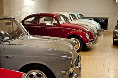 Vintage VW Beetle cars in a car museum Stock Photos