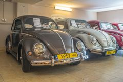 Vintage Volkswagen Beetle cars. Vintage VW Beetle cars in Volkswagen museum in Pepowo near Gdansk in northern Poland, Pomerania region. Yellow number plates for royalty free stock images