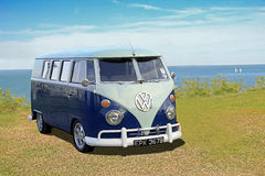 Vintage vw camper van. Photo of a vintage 1964 volkswagen with early split windscreen model on display at whitstable car show during summer of 2015 royalty free stock photography