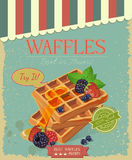 Vintage waffles poster design Stock Photography