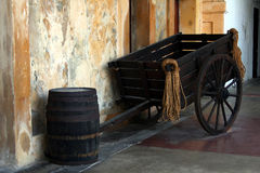 Vintage wagon and barrel Royalty Free Stock Images