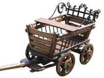 Vintage wagon wooden cart isolated on white Stock Photo