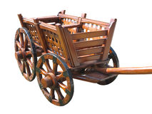 Vintage wagon wooden cart isolated on white Stock Photos