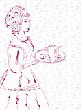Vintage waitress sketch with coffee Stock Images