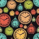 Vintage wall clocks and alarm clocks background Stock Photography