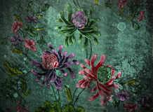 Vintage wall with floral Stock Photography