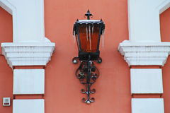 Vintage wall lantern covered with icicles royalty free stock images