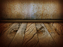 Vintage wall and old wood floor.Antique background Stock Images