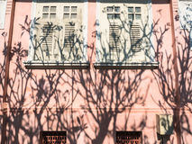 Vintage wall. Pink vintage windows on the wall against shadow of tree in garden Stock Photo