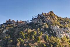 Vintage wall ruins of the castle Mouros on the hill. Sintra Portugal Stock Photo