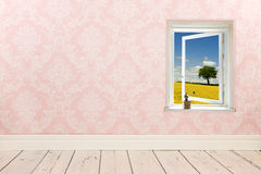 Vintage wall and wooden floor. Vintage wall, wooden floor and plinth stock photography