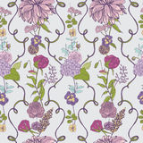 Vintage wallpaper background. Floral seamless pattern with flowers. Colorful vector illustration. Stock Images