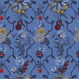 Vintage wallpaper background. Floral seamless pattern with flowers. Colorful vector illustration. Royalty Free Stock Images