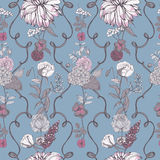 Vintage wallpaper background. Floral seamless pattern with flowers. Colorful vector illustration. Stock Photo