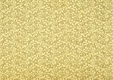 Vintage Wallpaper in Beige. Used vintage wallpaper in beige with floral spirals, grainy surface Royalty Free Stock Images