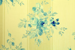Vintage wallpaper with blue flowers floral pattern Royalty Free Stock Images