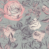 Vintage wallpaper with flowers Royalty Free Stock Images