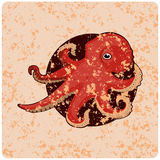 Vintage wallpaper with the image of an octopus Stock Photos