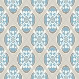 Vintage wallpaper. Modern geometric pattern, inspired by old wallpapers. Nice retro colors - grey beige and calm blue. Modern geometric pattern, inspired by vector illustration
