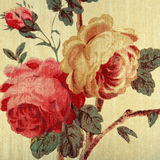 Vintage wallpaper with red rose floral victorian pattern Stock Photos