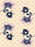 Vintage wallpaper seamless rose flower pattern on circles polka Stock Photo