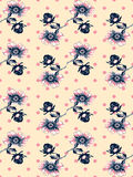 Vintage wallpaper seamless rose flower pattern on circles polka Royalty Free Stock Image