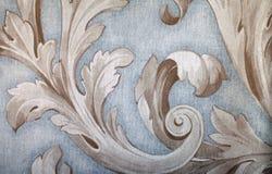 Vintage  wallpaper with vignette pattern. Vintage grey wallpaper background with beige vignette victorian pattern Royalty Free Stock Photo