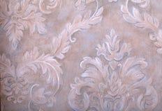 Vintage wallpaper with vignette victorian pattern. Detail of vintage beige and grey wallpaper with vignette victorian pattern Royalty Free Stock Image