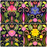Vintage wallpapers with exotic flowers Royalty Free Stock Images