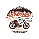Vintage wanderlust hand drawn label design. Adventure Awaits sign and outdoor activity symbols - mountains, motorcycle Stock Photography